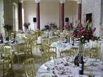Main Hall set up for Reception with 104 Seated on long and Round Tables