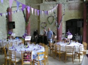 Main Hall set up for a reception for 100 guests